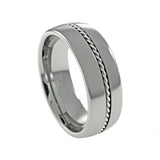Tungsten Carbide  Ring,Silver Braid,Dome and High Polish, Man vertical view