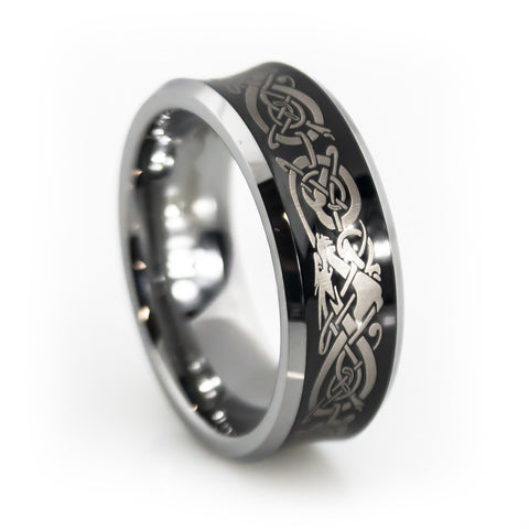 Tungsten Carbide Band with Dragon Pattern Engraving Man vertical view