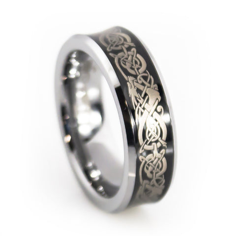 Tungsten Carbide Band With Dragon Pattern Engraving Woman Vertical View ·  Women Tungsten Wedding Rings ...