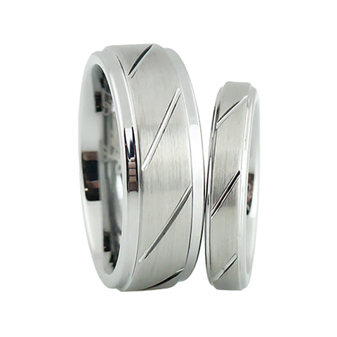 Simple design tungsten wedding band set