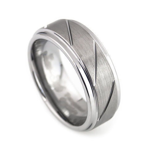 Tungsten Carbide Ring,Brushed Polish, clean Design Man vertical view