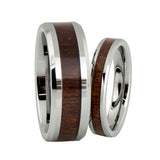 lena style KOA wood tungsten wedding band