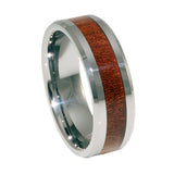 Tungsten Ring with KOA wood Inlay, Man 8mm vertical view