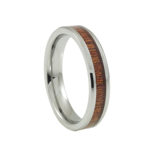 Tungsten ring with KOA wood inlay, Woman 4mm vertical view