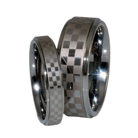 Tungsten Carbide Band, sport chequered patter Laser, Man 8mm set
