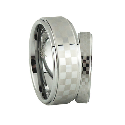 Checker flag tungsten wedding band sets for men and women
