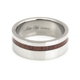 Titanium ring, KOA wood inlay by Lena Style horizontal view