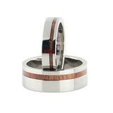 Wood pinstripe titanium wedding band sets for men and women