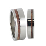 polish titanium wedding band pinstripe ring sets