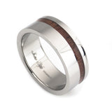 Titanium ring, KOA wood inlay by Lena Style vertical view