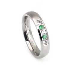 emerald titanium women's wedding band