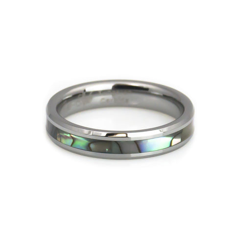 Women\'s tungsten ring with Mother of pearl inlay-4mm – Anniversary ...