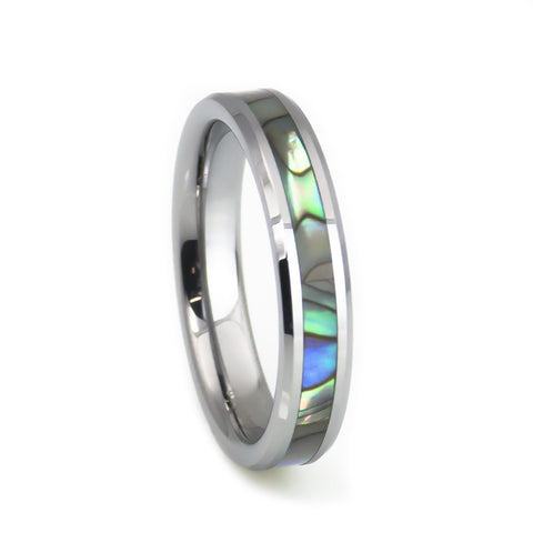 Mother of pearl inlay women's tungsten wedding band