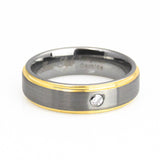 Diamond yellow gold step-stepdown edge tungsten wedding bands-6mm