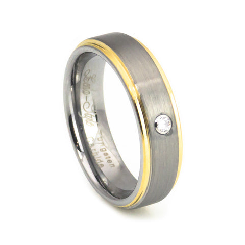 Genuine diamond yellow gold plated tungsten ring
