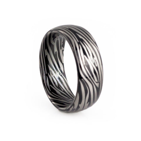 damascus steel men's wedding ring