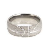 Titanium wedding band for basketball fan