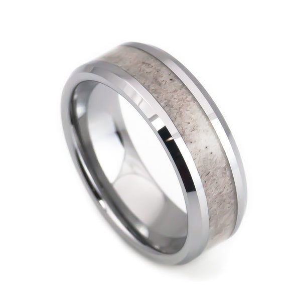 Deer Antler Inlay Mens And Womens Tungsten Wedding Bands 8mm Anniversary Rings Amp Wedding Rings