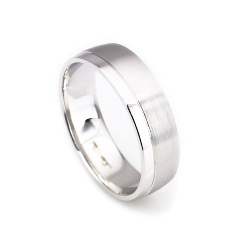 Unisex 14k White Gold Brush And High Polish Carved Wedding Band