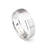 14k white gold matte finish-high polish wedding band
