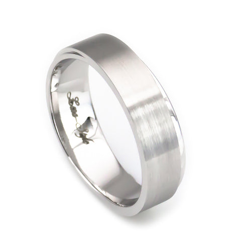 Men's 14k white gold carved curve edge wedding band