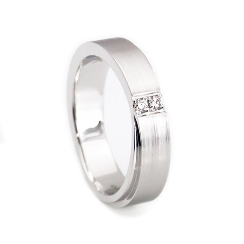 Her 14k white gold wedding band two diamonds 5mm