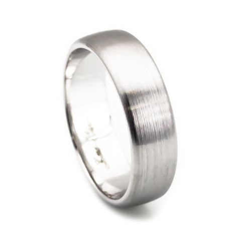14k white gold dome mens wedding bands 6mm matte finish