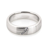 Her 14k white gold three diamonds matte finish wedding ring 5mm