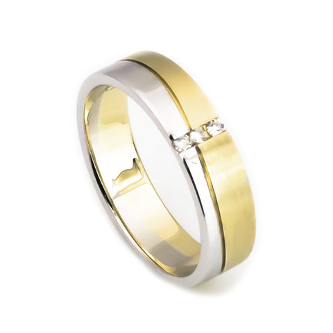 14k yellow gold white gold wedding band