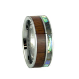 Abalone shell inlay tungsten wedding band