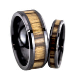 Black ceramic wedding band sets zebra wood inlay for men and women