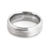 Men's tungsten wedding band beveled edge