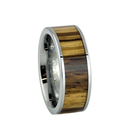 Zebra wood inlay tungsten wedding rings