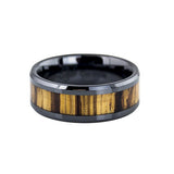 Lena Style men's black ceramic ring with wood inlay