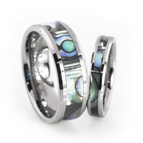 His and Her tungsten ring sets with Mother of pearl inlay wedding