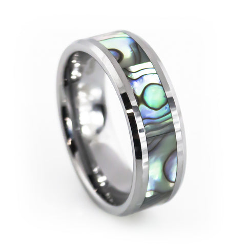 Pearl Abalone shell inlay tungsten wedding rings