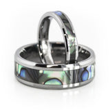 His and Her tungsten ring sets with Mother of pearl inlay wedding band sets