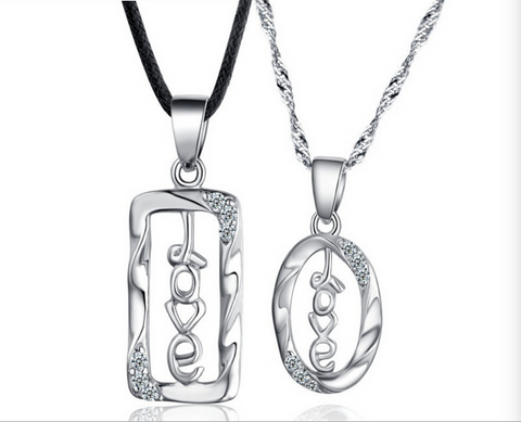 """love"" sign sterling silver necklace sets"