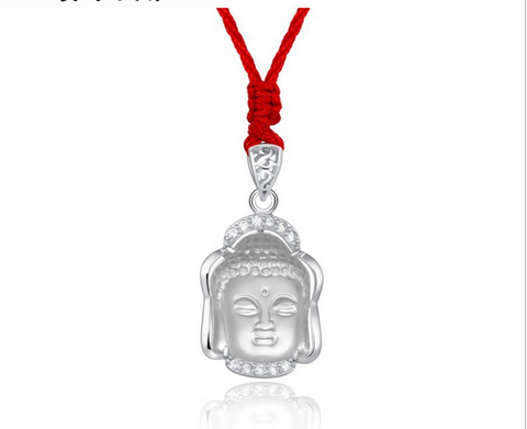 Buddha head silver diamond necklace