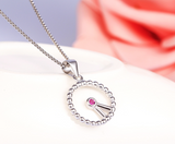 "Charm ""Clock"" craft sterling silver womens necklace with lab-create ruby accent"
