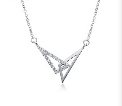 Sterling silver triangle loop diamonds necklace