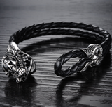 Men's art deco skull looking leather bracelet