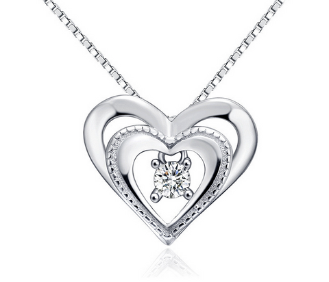 Dual heart diamond necklace