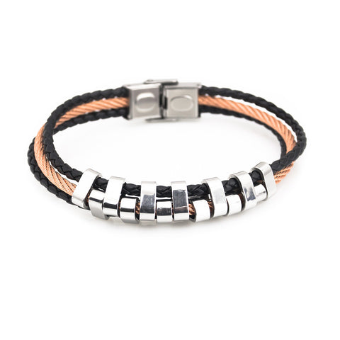 Bracelet for men rose gold and steel