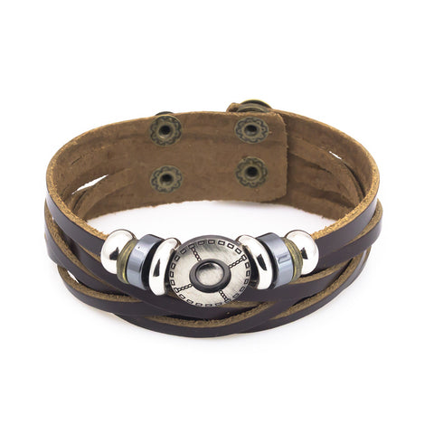 Brown leather bead bracelet