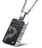 black carbon fiber steel dog tag