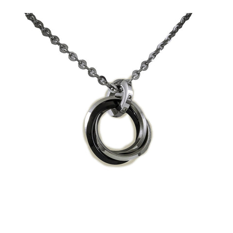 Black and White Stainless Steel Pendant with Necklace view 1