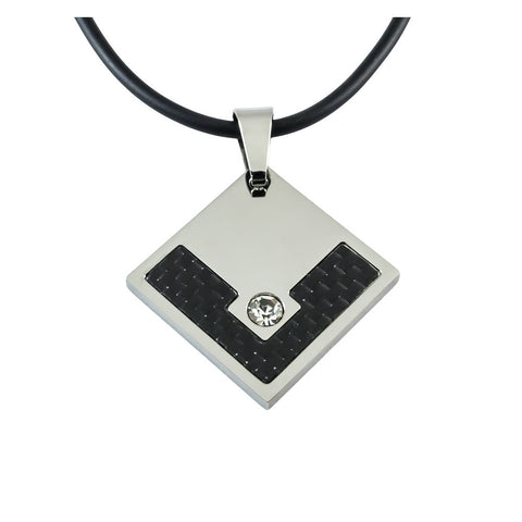 Tungsten Carbon Fiber Pendant with white background