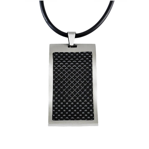 wavy dog tag pendent with carbon fiber inlay top view