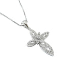 New Fashion CZ Sterling Silver Cross Pendant side view